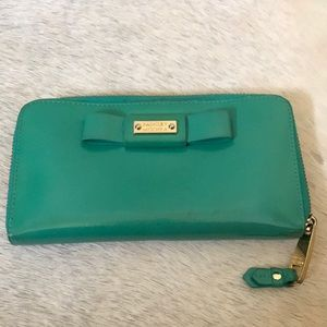 Turquoise Badgley Mischka Patent Leather Wallet